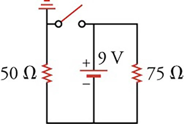 Circuit diagram with a $9\text{-V}$ battery, a switch and two resistors ($50$ and $75\,\Omega$).