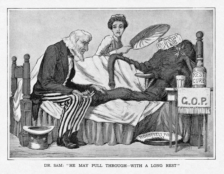 "The cartoon shows an elephant sick in bed. He has ice tied to his head. A woman fans him. Dr. Uncle Sam sits on the bed and measures the elephant's heartrate. A bottle of ""rest cure"" sits on a cloth labeled GOP on the bedside table. A Roosevelt pie, with one piece missing, is on the floor. The caption at the bottom reads, ""Dr. Sam: 'He may pull through—with a long rest.'"""