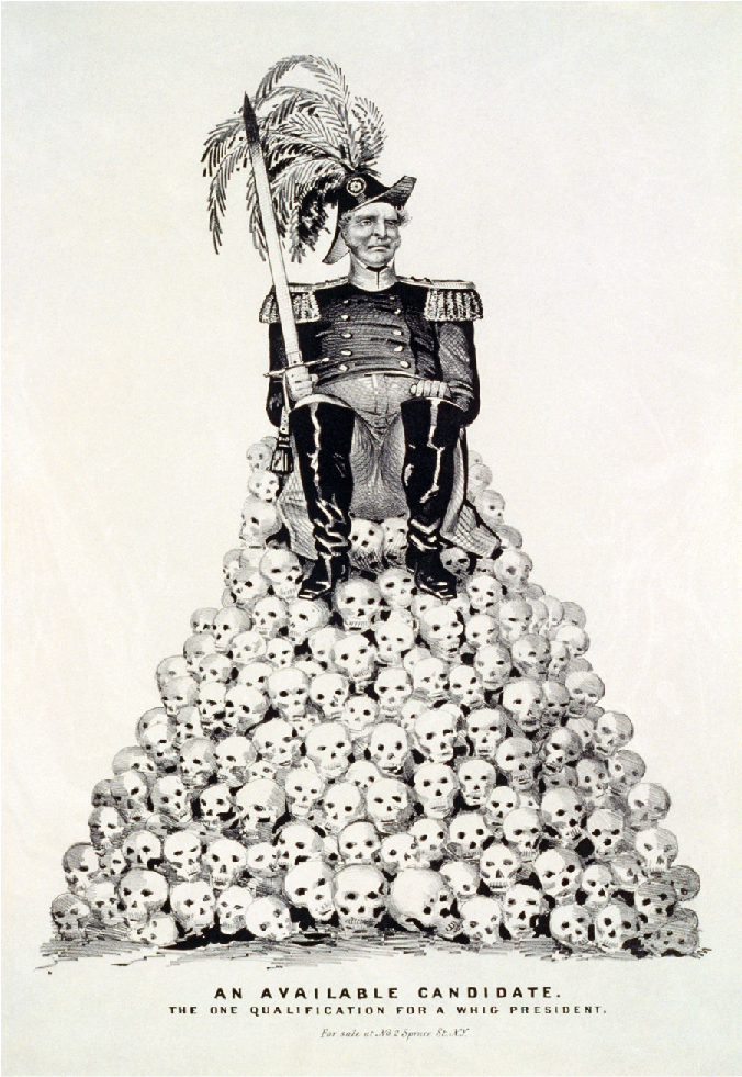 """Cartoon of a man in the attire of an admiral sitting atop a pile of skulls. Below the pile of skulls is the text """"An available candidate. The one qualification for a Whig president."""""""