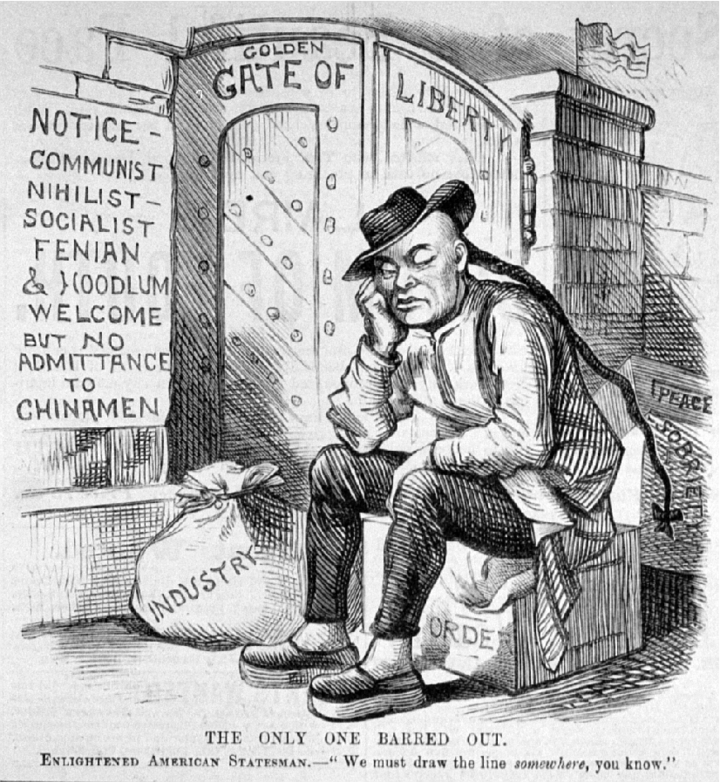 "A Chinese man sits on a box labeled Order outside the closed Golden Gate of Liberty. His elbow is on his knee with his hand propping up his head. On the wall beside the gate is a sign that reads Notice—Communist Nihilist—Socialist Fenian and Hoodlum Welcome but No Admittance to Chinamen. Beside the man are bags labeled Industry, Peace, Sobriety. Behind the wall is an American flag. The caption at the bottom of the cartoon reads ""The only one barred out. Enlightened American Statesman says 'We must draw the line somewhere, you know.'"""