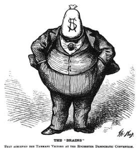 The cartoon shows Boss Tweed with a money bag as his head and a dollar sign as his face. The caption at the bottom of the cartoon reads