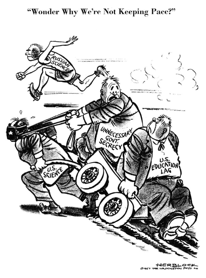 The cartoon shows a blindfolded man labeled US Science struggling to pull two men, labeled Unnecessary Government Secrecy and US Education Lag, in a cart. In the background, a runner labeled Russian Science races ahead. The caption reads Wonder why we're not keeping pace?