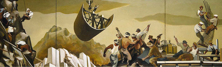 On the left men hang on the side of a cliff. In the center left a man rides a part being lifted by a crane. Behind him are structures that show the beginning of construction. On the center right men gesture to him. Beside them two men look at a blueprint. Behind them is a factory. On the right men construct the parts.