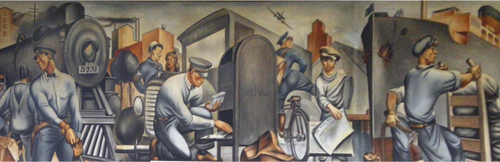 The illustration shows a series of images: moving from left to right the images show men stand in front of a train a man in front of a car grabbing mail from a mailbox a man on a bicycle with an airplane flying above him a boy holding newspapers and men using a dolly to transport bags in front of a ship.