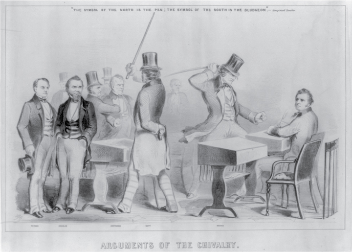 There is a group of men on the left side of the sketch; a man in a top hat and raised stick is looking at them. On the right side of the sketch is a man at a desk with a quill; the man in the top hat looks down at him with his stick raised as if to strike the seated man.