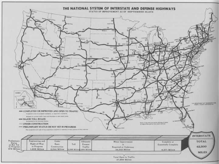 The map shows the interstates in the United States. The interstates are more spread out in the West and South regions and more crowded in the Northeast.