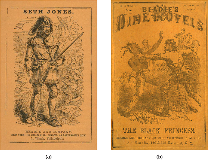 (a) Cover of the book Seth Jones; or, The Captives of the Frontier by Edward S. Ellis (1860), showing a man with a gun. (b) Cover of the book The Black Princess, showing two men (one appears to be American Indian) fighting.