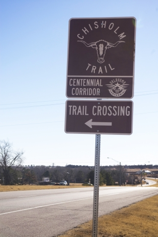 Trail crossing markers are a common site along Highway 81, which generally follows the route of the famous Chisholm Trail.