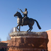 This life-size statue of Jesse Chisholm, father of the Chisholm Trail, stands in the center of downtown Kingfisher. Chisholm is depicted atop his horse extending a peace pipe.