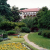 The manicured gardens on the grounds of Tulsa's Philbrook Museum are nestled under towering trees.