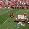 The Sooner Schooner celebrates after a touchdown during a University of Oklahoma football game.