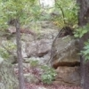 Rocky cliffs challenge hikers in Osage Hills State Park near Pawhuska.