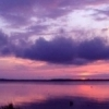 Pretty shades of pink and purple blend as the sun sinks over Lake Eufaula State Park.