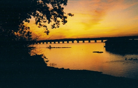 Looking east over the Bernice Bridge at Grand Lake in northeastern Oklahoma.