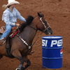 A barrel racer competes at the International Finals Youth Rodeo in Shawnee.