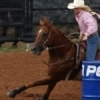 A barrel racer works against the clock at the International Finals Youth Rodeo in Shawnee.