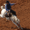 This bronc rider is competing in the International Finals Youth Rodeo in Shawnee.