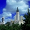 The Tulsa skyline rises above a foreground of trees.