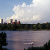 The Tulsa skyline is seen in the distance across the Arkansas River.