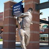 A bronze Mickey Mantle smashes another homer in the Mickey Mantle Plaza at the Chickasaw Bricktown Ballpark in downtown Oklahoma City.  Mantle was a native of Commerce.