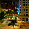 Downtown Oklahoma City sparkles at night.