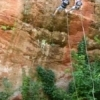 Rappellers flock to Red Rock Canyon State Park in Hinton to descend the red sandstone cliffs.