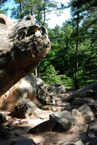Robbers Cave State Park near Wilburton offers scenic hiking trails for every skill level, boulder hopping and rappelling.  Hike up through the rocky hills to the secluded cave where outlaws like Belle Starr and Jesse James once hid.