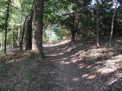 A trail at Boiling Springs State Park near Woodward leads hikers through hardwood forests and along spring-fed creeks.