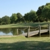 Lake Murray State Park Golf Course includes several strategically-placed water hazards like this one.  The course is part of the Lake Murray State Park complex in Ardmore and offers 18 holes and manicured greens.