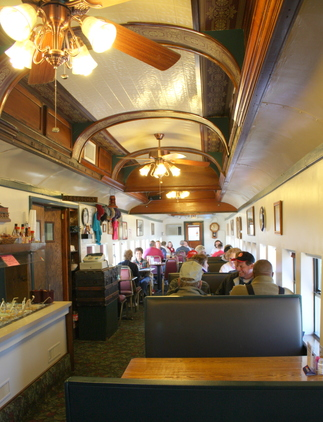 The interior of the Southern Belle Restaurant, a refurbished railway car in Heavener, adds to the dining experience.