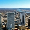 An aerial view of beautiful downtown Tulsa.