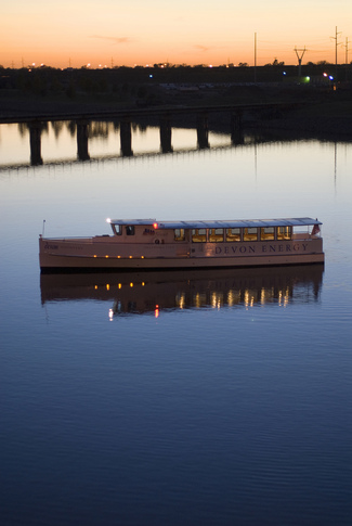 Enjoy a sunset cruise on the Oklahoma River near downtown Oklahoma City.