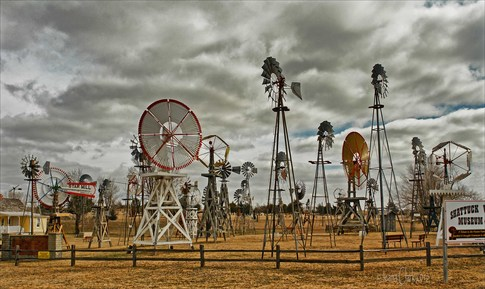 Antique windmills that watered the plains of Oklahoma during the pioneer and territorial days are on display at the Shattuck Windmill Museum and Park in northwestern Oklahoma.