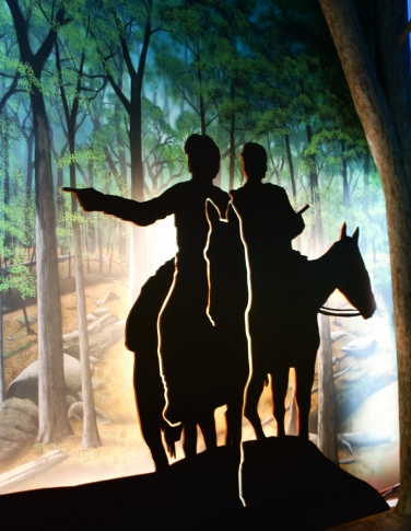 The removal corridor exhibit at the Chickasaw Cultural Center in Sulphur tells story of the forced removal of the Chickasaw Nation from their southeastern homelands through multimedia experiences and interesting displays.
