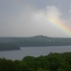 A rainbow appears over Lake Tenkiller after a storm.