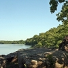 Okmulgee State Park in eastern Oklahoma features a scenic lake and rugged shoreline.