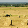 A farmer works the hay harvest near Pauls Valley.
