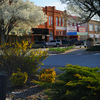 The downtown district in the town of Sulphur features historic architecture and charming streetscapes.