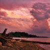 A stormy night on the beach of Lake Eufaula produces brilliant pink and purple hues.