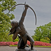 "Allan Houser's ""Sacred Rain Arrow"" sculpture graces the entrance to the Gilcrease Museum in Tulsa."