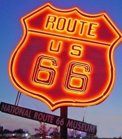 The massive, neon Route 66 sign shines bright outside of the National Route 66 & Transportation Museum in Elk City.