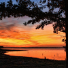 A fiery sunset paints Lake Eufaula with a brilliant blend of colors.