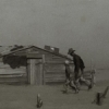 A dust storm ravages an Oklahoma farm during the Dust Bowl in 1936.