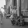 Out of work farmers gather in downtown Sallisaw in 1936 during the Dust Bowl.