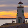 This lighthouse stands in the East Wharf area of Lake Hefner in Oklahoma City amidst walking and bicycle trails and several lakeside restaurants.