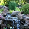 The Linnaeus Teaching Gardens in Tulsa feature a variety of cascading water elements throughout the grounds.