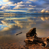 Reflections and driftwood on the shore create a spectacular scene at Lake Eufaula in eastern Oklahoma.