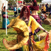 A belly dancer performs at the Medieval Fair in Norman.