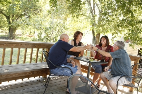 The large patio at StableRidge Vineyards & Winery makes get-togethers over a bottle of wine even better.
