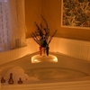 Let stress melt away in the luxurious Jacuzzi tub found within the Florence room at the Grandison Inn at Maney Park in Oklahoma City.